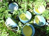 Blue and yellow coffee cups by Emma Buckmaster, Ceramics, stoneware