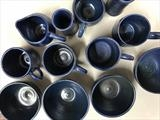 Blue stoneware mugs and bowls by Emma Buckmaster, Ceramics